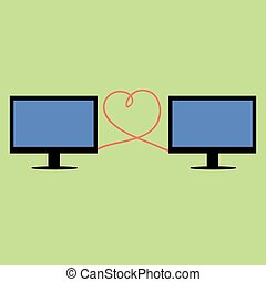 Flat style computers connected with heart