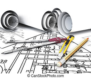 Engineering tools on the drawing plans 3d render image