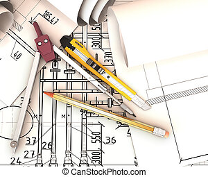 Scrolls engineering drawings and tools.
