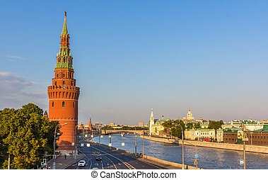 Evening view of Moscow Kremlin, Russia