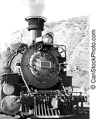 Steamer - Vintage steam driven engine in black and white