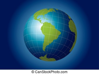 South America map. Antarctica, North America, Africa. Earth...