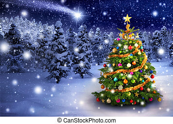 Christmas tree in snowy night - Magnificent colorful...