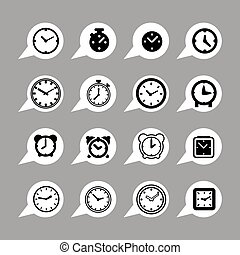 clock icons - clock time hour interface icon set