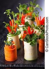 abobrinha, e, cenoura, Roll-Ups, ,