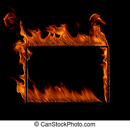 Burning fire frame isolated in black background