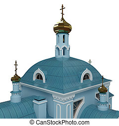 Church - Layout of Christian church. 3d render. Isolated.