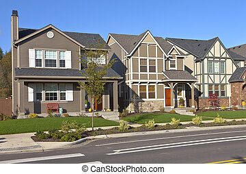 Row of new homes in Willsonville Oregon. - Row of new homes...