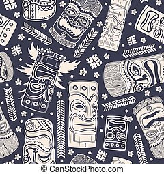 Vintage Aloha Tiki seamless pattern for your business