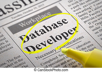 Database Developer Vacancy in Newspaper Job Seeking Concept...