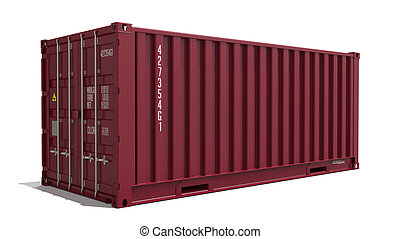 Red Container on Isolated Background.