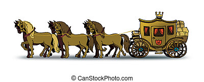 Carriage - Drawing of six horses pulling an old big carriage