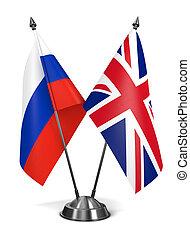 rússia, e, grande, Inglaterra, -, miniatura, Flags.,