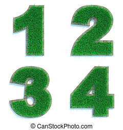 Digits 1, 2, 3, 4 of Green Lawn. - Digits 1, 2, 3, 4 - Set...