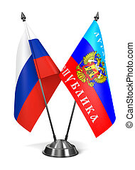 Russia and Luhansk Peoples Republic - Miniature Flags -...