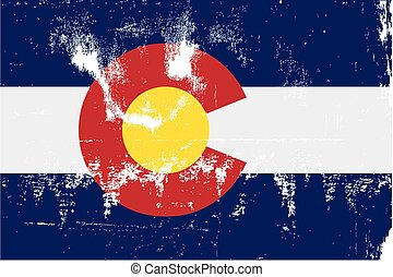 Colorado State Flag Grunge - The United States of American...