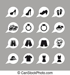 Clothes icons - Clothes sale market shop icon set
