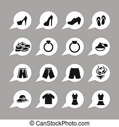 Clothes icons - Clothes sale market shop icon set
