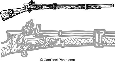 old musket - Vector black and white illustration of old...