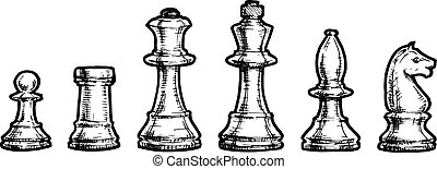drawing of chess - Vector black and white illustration of...