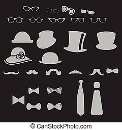 clothes icons - clothes hat glasses mustache bow icon set