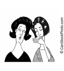 Gossip - Cartoon of two Ladies Gossiping
