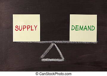 Supply and Demand Balance concept on blackboard.