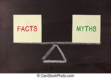 Facts and Myths Balance concept on blackboard.