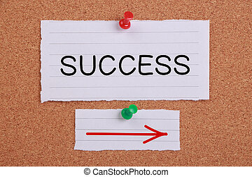 Success Concept - Success This Way note paper pinned on...