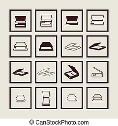 Scan icons - Scan copy office interface icon set