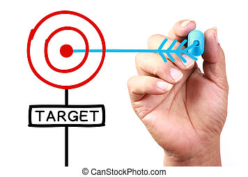 Target - Drawing 'Get Your Target' Concept on transparent...