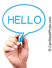 Hello Speech Bubble - Say Hello on transparent white board...