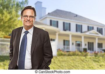 residencial, atractivo, hogar, frente, hombre de negocios,...