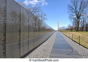 Vietnam War Memorial with Lincoln Memorial in Background -...