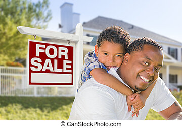 African American Father and Mixed Race Son, Sale Sign, House