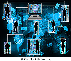 Internet unites humanity - Many abstract images on the theme...