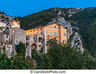 Mountain old village Peille, Provence Alpes, France Night...