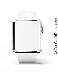 White smart watch isolated on a white background. 3d render