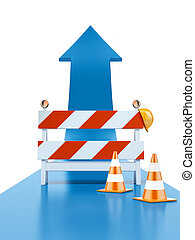 Roadblock and blue arrow isolated on a white background 3d...