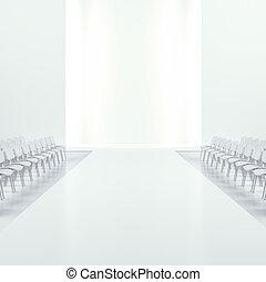 branca, moda, vazio, runway, ,
