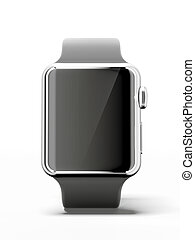 Black smart watch isolated on a white background 3d render