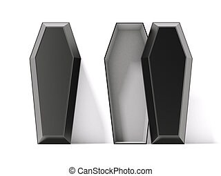 Open and closed black coffins isolated on a white background...