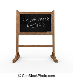 3d black chalkboard do you speak english