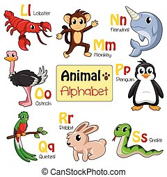 Alphabet animals from L to S - A vector illustration of...