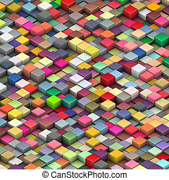 3d beveled cubes in multiple bright colors