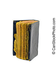 ancient used prayer book isolated on white - ancient used...