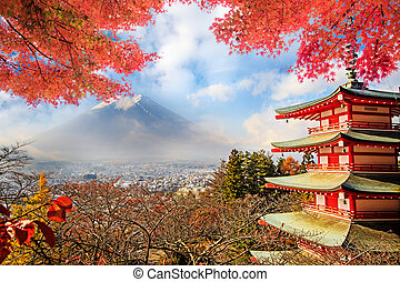 Mt. Fuji with fall colors in Japan. - Mt. Fuji with fall...