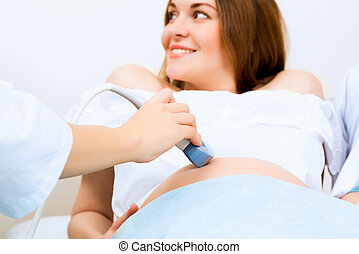 hands and abdominal ultrasound scanner for pregnant women