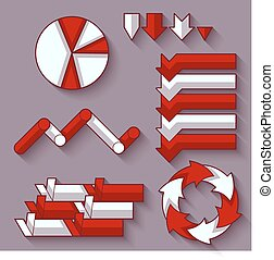 Vector set of arrows and diagram for infographic