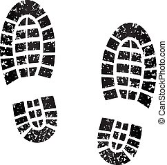 black footprints - illustration of black footprints on white...